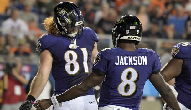 Aug 2, 2018; Canton, OH, USA;  Baltimore Ravens tight end Hayden Hurst (81) and quarterback Lamar Jackson (8) celebrate after a touchdown in the third quarter against the Chicago Bears during the Hall of Fame Game at Tom Benson Hall of Fame Stadium. The Ravens defeated the Bears 17-16. Photo Credit: Kirby Lee-USA TODAY Sports
