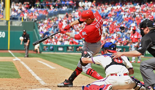 Jun 9, 2019; Philadelphia, PA, USA; Cincinnati Reds first baseman Joey Votto (19) hits an two RBI single during the seventh inning against the Philadelphia Phillies at Citizens Bank Park. Photo Credit: Eric Hartline-USA TODAY Sports