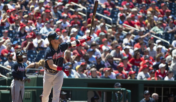 Jun 23, 2019; Washington, DC, USA; Atlanta Braves third baseman Josh Donaldson (20) hits a solo home run during the fourth inning against the Washington Nationals at Nationals Park. Photo Credit: Tommy Gilligan-USA TODAY Sports