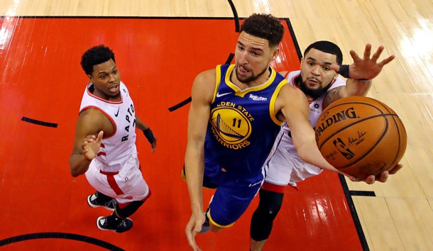 Jun 2, 2019; Toronto, Ontario, CAN; Golden State Warriors guard Klay Thompson (11) shoots the ball against Toronto Raptors guard Fred VanVleet (23) in game two of the 2019 NBA Finals at Scotiabank Arena. Photo Credit: Kyle Terada-USA TODAY Sports