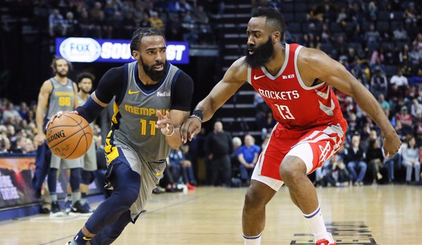 Mar 20, 2019; Memphis, TN, USA; Memphis Grizzlies guard Mike Conley (11) controls the ball as Houston Rockets guard James Harden (13) defnds during the second half at FedExForum. Memphis won 126-125. Photo Credit: Nelson Chenault-USA TODAY Sports