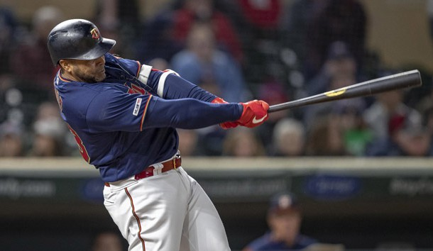 Apr 29, 2019; Minneapolis, MN, USA; Minnesota Twins pinch hitter Nelson Cruz (23) hits a double in the eighth inning against the Houston Astros at Target Field. Photo Credit: Jesse Johnson-USA TODAY Sports