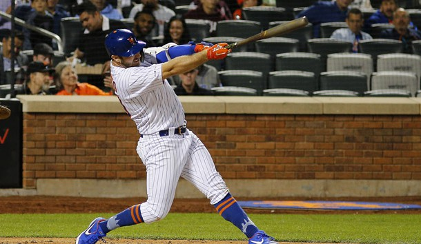 Jun 4, 2019; New York City, NY, USA; New York Mets first baseman Pete Alonso (20) hits a solo home run against the San Francisco Giants during the sixth inning at Citi Field. Photo Credit: Andy Marlin-USA TODAY Sports