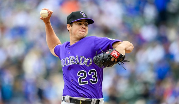 Jun 6, 2019; Chicago, IL, USA; Colorado Rockies starting pitcher Peter Lambert (23) pitches during the first inning against the Chicago Cubs at Wrigley Field. Photo Credit: Patrick Gorski-USA TODAY Sports