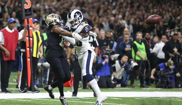 Jan 20, 2019; New Orleans, LA, USA; Los Angeles Rams defensive back Nickell Robey-Coleman (23) breaks up a pass intended or New Orleans Saints wide receiver Tommylee Lewis (11) during the fourth quarter of the NFC Championship game at Mercedes-Benz Superdome. Photo Credit: Chuck Cook-USA TODAY Sports