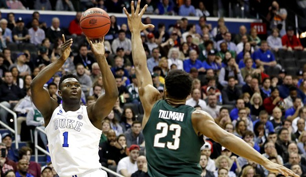 Mar 31, 2019; Washington, DC, USA; Duke Blue Devils forward Zion Williamson (1) shoots the ball against Michigan State Spartans forward Xavier Tillman (23) during the second half in the championship game of the east regional of the 2019 NCAA Tournament at Capital One Arena. Photo Credit: Geoff Burke-USA TODAY Sports