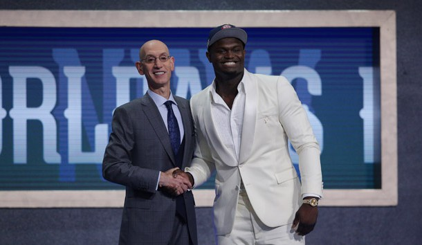 Jun 20, 2019; Brooklyn, NY, USA; Zion Williamson (Duke) greets NBA commissioner Adam Silver after being selected as the number one overall pick to the New Orleans Pelicans in the first round of the 2019 NBA Draft at Barclays Center. Photo Credit: Brad Penner-USA TODAY Sports