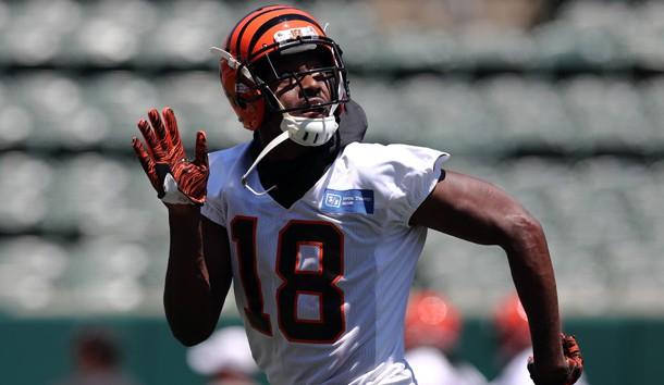 Jun 11, 2019; Cincinnati, OH, USA; Cincinnati Bengals wide receiver A.J. Green (18) participates in drills during minicamp at Paul Brown Stadium. Photo Credit: Aaron Doster-USA TODAY Sports