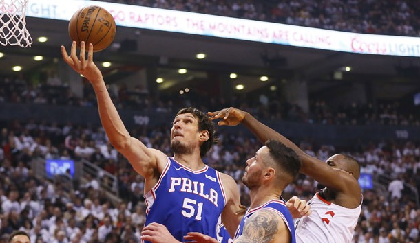 Apr 27, 2019; Toronto, Ontario, CAN; Philadelphia 76ers center Boban Marjanovic (51) comes down with a rebound against the Toronto Raptors during game one of the second round of the 2019 NBA Playoffs at Scotiabank Arena. Toronto defeated Philadelphia. Photo Credit: John E. Sokolowski-USA TODAY Sports