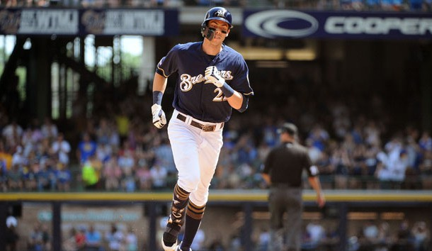 Jul 17, 2019; Milwaukee, WI, USA; Milwaukee Brewers right fielder Christian Yelich (22) rounds the bases after hitting a home run against the Atlanta Braves  in the sixth inning at Miller Park. Photo Credit: Michael McLoone-USA TODAY Sports