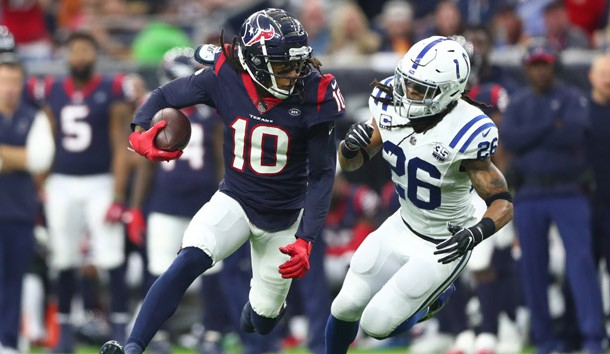 Jan 5, 2019; Houston, TX, USA; Houston Texans wide receiver DeAndre Hopkins (10) is chased by Indianapolis Colts strong safety Clayton Geathers (26)  in the second quarter in a AFC Wild Card playoff football game at NRG Stadium. Photo Credit: Mark J. Rebilas-USA TODAY Sports