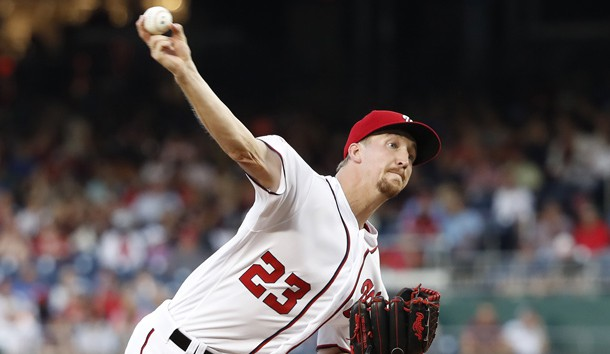 Jun 20, 2019; Washington, DC, USA; Washington Nationals starting pitcher Erick Fedde (23) pitches against the Philadelphia Phillies in the second inning at Nationals Park. Photo Credit: Geoff Burke-USA TODAY Sports