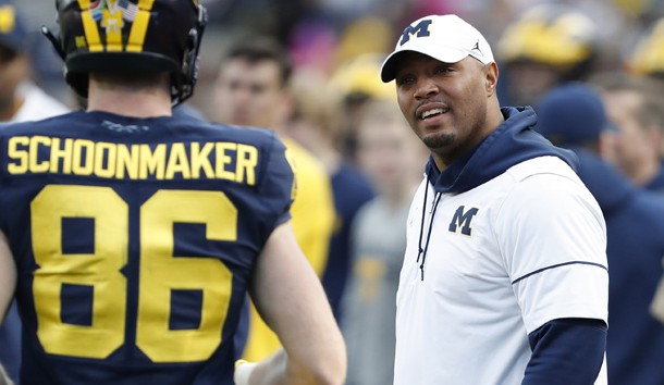 Apr 13, 2019; Ann Arbor, MI, USA; Michigan Wolverines offensive coordinator Josh Gattis looks at tight end Luke Schoonmaker (86) during the spring football game at Michigan Stadium. Photo Credit: Raj Mehta-USA TODAY Sports
