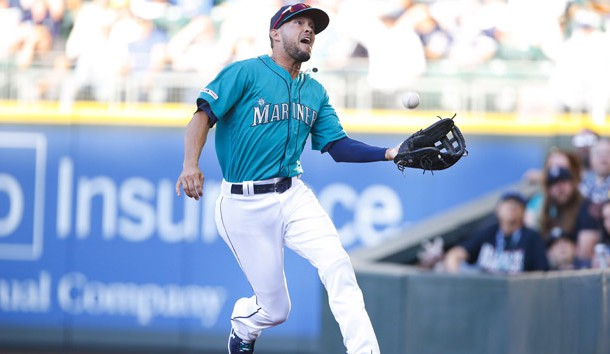 Jul 26, 2019; Seattle, WA, USA; Seattle Mariners right fielder Kristopher Negron (45) makes a catch in foul territory for an out against the Detroit Tigers during the first inning at T-Mobile Park. Photo Credit: Jennifer Buchanan-USA TODAY Sports