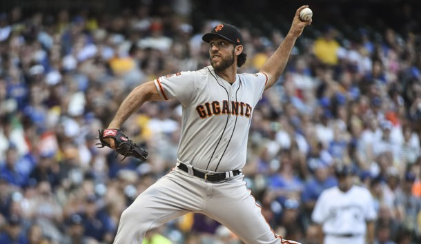 Jul 13, 2019; Milwaukee, WI, USA;  San Francisco Giants pitcher Madison Bumgarner (40) throws a pitch in the first inning against the Milwaukee Brewers at Miller Park. Photo Credit: Benny Sieu-USA TODAY Sports