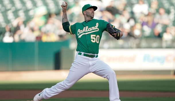 Jul 12, 2019; Oakland, CA, USA; Oakland Athletics starting pitcher Mike Fiers (50) pitches against the Chicago White Sox during the first inning at Oakland Coliseum. Photo Credit: Stan Szeto-USA TODAY Sports