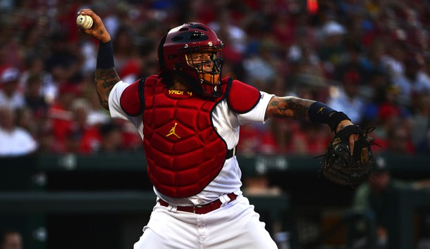 Jun 25, 2019; St. Louis, MO, USA; St. Louis Cardinals catcher Yadier Molina (4) throws to second prior to the start of the game against the Oakland Athletics at Busch Stadium. Photo Credit: Jeff Curry-USA TODAY Sports