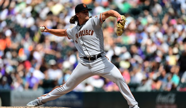 Jul 17, 2019; Denver, CO, USA; San Francisco Giants starting pitcher Shaun Anderson (64) delivers a pitch against the Colorado Rockies in the fifth inning at Coors Field. Photo Credit: Ron Chenoy-USA TODAY Sports