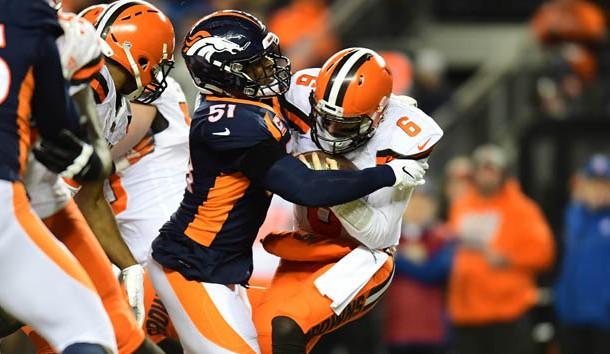 Dec 15, 2018; Denver, CO, USA; Denver Broncos inside linebacker Todd Davis (51) sacks Cleveland Browns quarterback Baker Mayfield (6) in the second quarter at Broncos Stadium at Mile High. Photo Credit: Ron Chenoy-USA TODAY Sports