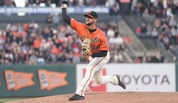 Jul 19, 2019; San Francisco, CA, USA; San Francisco Giants starting pitcher Tyler Beede (38) pitches against the New York Mets during the first inning at Oracle Park. Photo Credit: Stan Szeto-USA TODAY Sports
