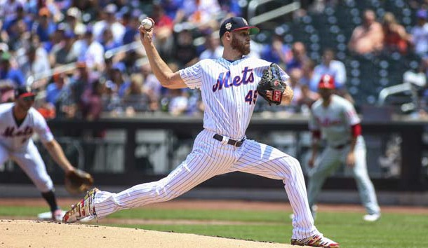 Jul 7, 2019; New York City, NY, USA; New York Mets pitcher Zack Wheeler (45) pitches in the first inning against the Philadelphia Phillies at Citi Field. Photo Credit: Wendell Cruz-USA TODAY Sports