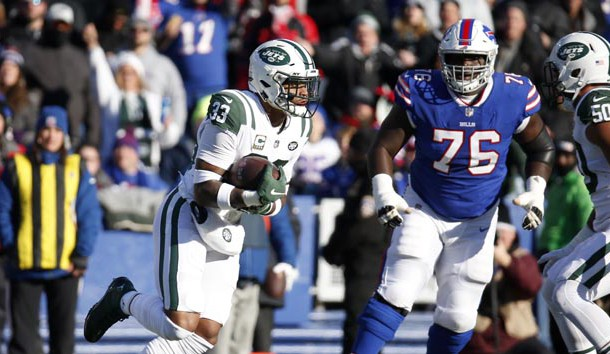 Dec 9, 2018; Orchard Park, NY, USA; New York Jets strong safety Jamal Adams (33) intercepts the ball during the first half against the Buffalo Bills at New Era Field. Photo Credit: Timothy T. Ludwig-USA TODAY Sports