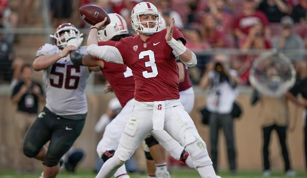 Oct 27, 2018; Stanford, CA, USA; Stanford Cardinal quarterback K.J. Costello (3) throws the football against the Washington State Cougars during the second quarter at Stanford Stadium. Photo Credit: Stan Szeto-USA TODAY Sports