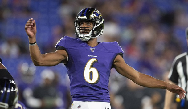 Aug 8, 2019; Baltimore, MD, USA; Baltimore Ravens punter Kaare Vedvik (6) kicks a field goal during during the second half against the Baltimore Ravens at M&T Bank Stadium.  Photo Credit: Tommy Gilligan-USA TODAY Sports