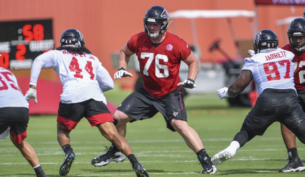 Jul 22, 2019; Flowery Branch, GA, USA; Atlanta Falcons offensive tackle Kaleb McGary (76) blocks against defensive end Vic Beasley (44) during the first day of training camp at Falcons Training Complex. Photo Credit: Dale Zanine-USA TODAY Sports