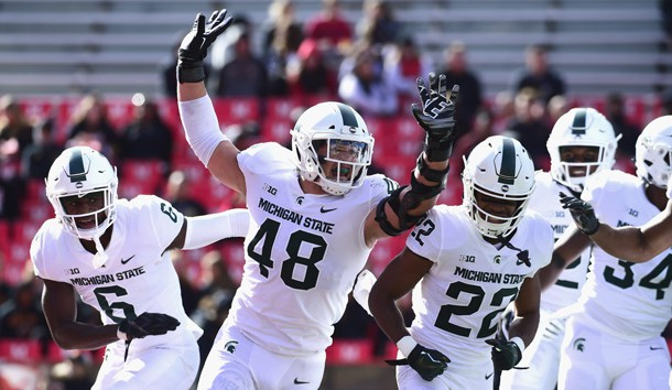 Nov 3, 2018; College Park, MD, USA;  Michigan State Spartans defensive end Kenny Willekes (48) celebrates with teammates during the first quarter against the Maryland Terrapins at Capital One Field at Maryland Stadium. Photo Credit: Tommy Gilligan-USA TODAY Sports