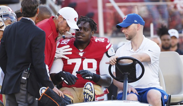 Aug 10, 2019; Santa Clara, CA, USA; San Francisco 49ers offensive tackle Shon Coleman (78) is carted off the field during the first quarter against the Dallas Cowboys at Levi's Stadium. Photo Credit: Kelley L Cox-USA TODAY Sports