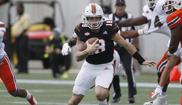 Apr 20, 2019; Orlando, FL, USA; Miami Hurricanes quarterback Tate Martell (18) runs the ball during the first half of the Miami spring game at Camping World Stadium. Photo Credit: Reinhold Matay-USA TODAY Sports