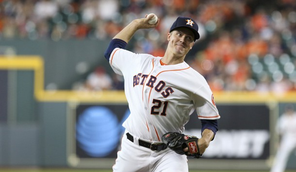 Aug 6, 2019; Houston, TX, USA; Houston Astros starting pitcher Zack Greinke (21) delivers a pitch against the Colorado Rockies during the first inning at Minute Maid Park. Photo Credit: John Glaser-USA TODAY Sports