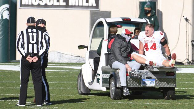 Coach Allen's son carted off field in Indiana win